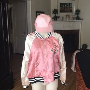 pink satin varsity jacket embroidered flowers